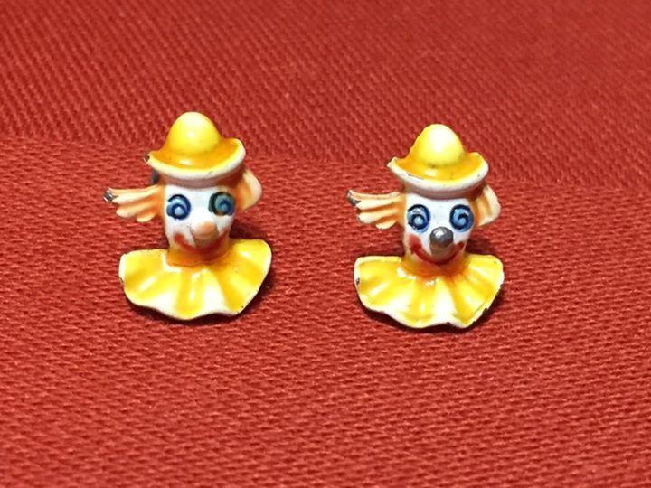 Vintage BOZO the Clown Enamel Post Earrings Tiny!  Little Girl Colorful Earrings