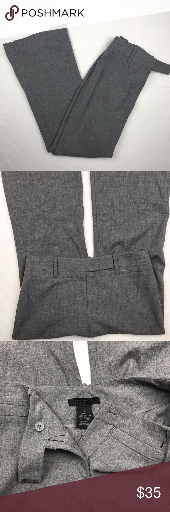 The Limited Stretch Size 6 Short Gray Dress Pants The Limited Stretch Size 6 Short Womens Straight Leg Gray Dress Pants. Double Hook Latch and Zipper to Fasten. Inseam: 30 inches. Material: 68% Polyester 29% Viscose 3% Spandex. Excellent Used Condition. AA7.117. The Limited Pants Trousers