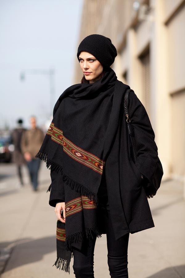 Aymeline Valade Wrap Cape - New York Fashion Week Street Style - Harper's BAZAAR