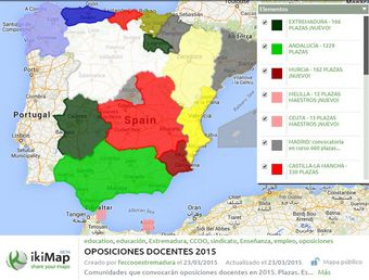 Comisiones Obreras - Federación de Enseñanza de Extremadura. Oposiciones docentes 2015 al día: Mapa de las ofertas de empleo público docente, actualización