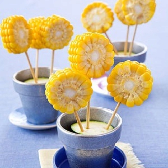 "Corn flowers...for the kids that have trouble handling a big corn on the cob. Or for anyone that likes ""cute"" :)"