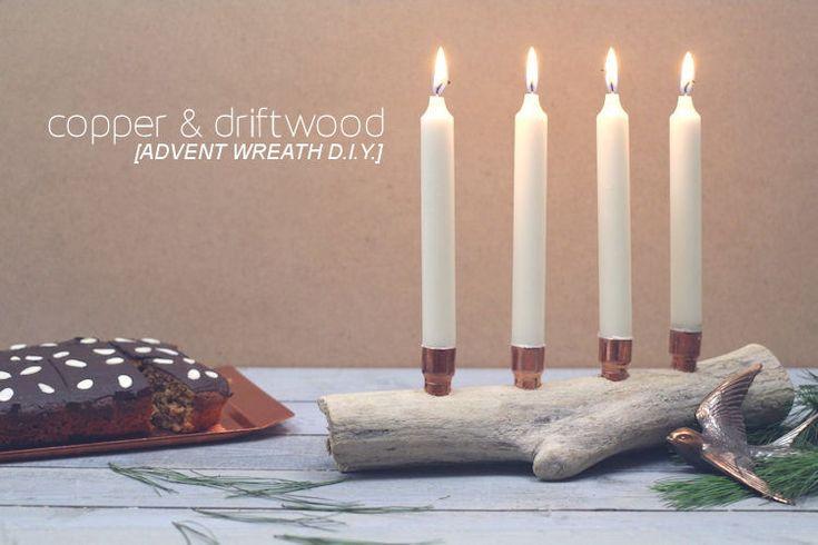 Anleitung für einen minimalistischen Adventskranz aus Treibholz und Kupfer. (DIY, selbermachen, maritim, Ostsee, Tutorial, Advent, Weihnachten, Xmas)