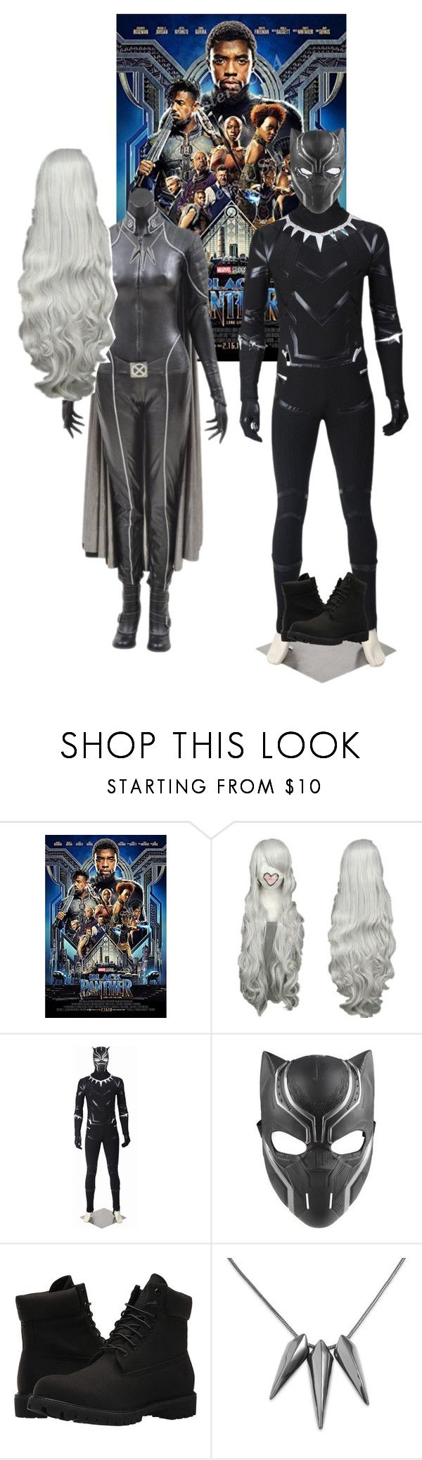 """""""Couples cosplay movie outing: Black Panther"""" by cat-anaya ❤ liked on Polyvore featuring Marvel and Timberland"""