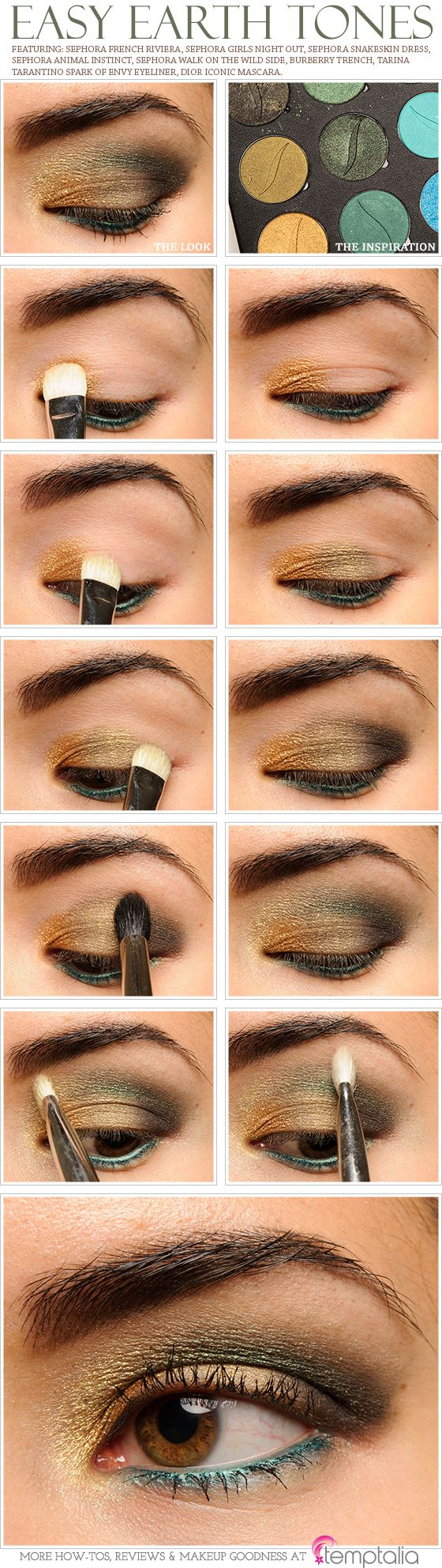 Easy Earth Tones - Love this, except for the blue liner on the lower lashes. Brown or green instead.
