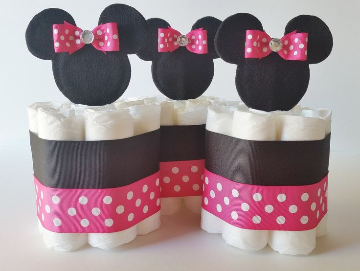 Minnie Mouse Diaper Cake Centerpieces, Minnie Mini Diaper Cakes, Minnie Baby Shower Decorations, Baby Girl Shower Gift by LilLoveBugsCreations on Etsy https://www.etsy.com/listing/210792869/minnie-mouse-diaper-cake-centerpieces