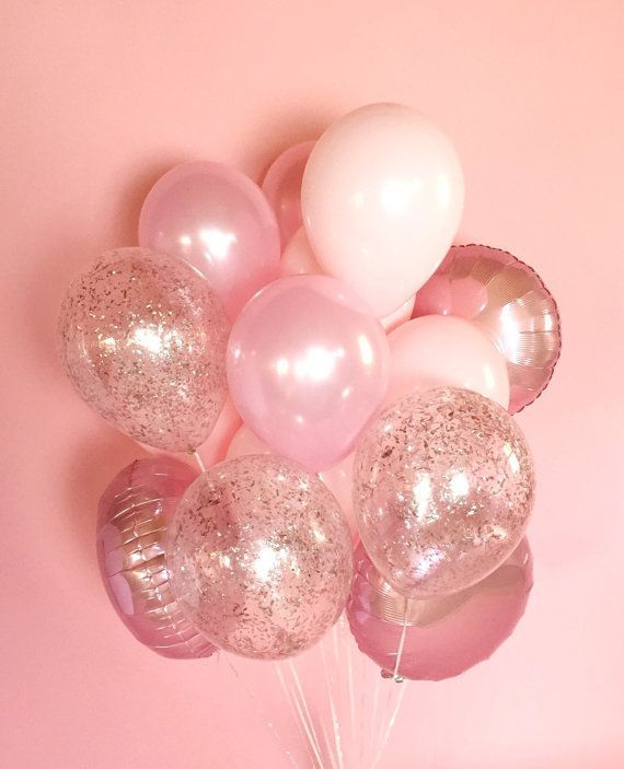 Pink Balloon Bouquet with Glitter Confetti Balloons | Giant Pink Balloon Bunch
