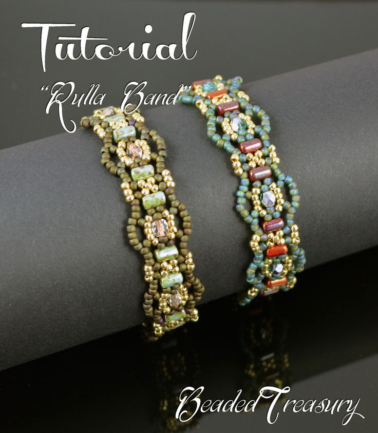 "Hello everyone! I have a new beading tutorial for you! ""Rulla Band"" beaded bracelet made with two hole Rulla beads, 11/0 seed beads and 4mm fire polished beads. I made this bracelet design in two color combinations, one is khaki and the other is teal. I love the result and I hope you will love this bracelet as well! Beading tutorial by BeadedTreasury."