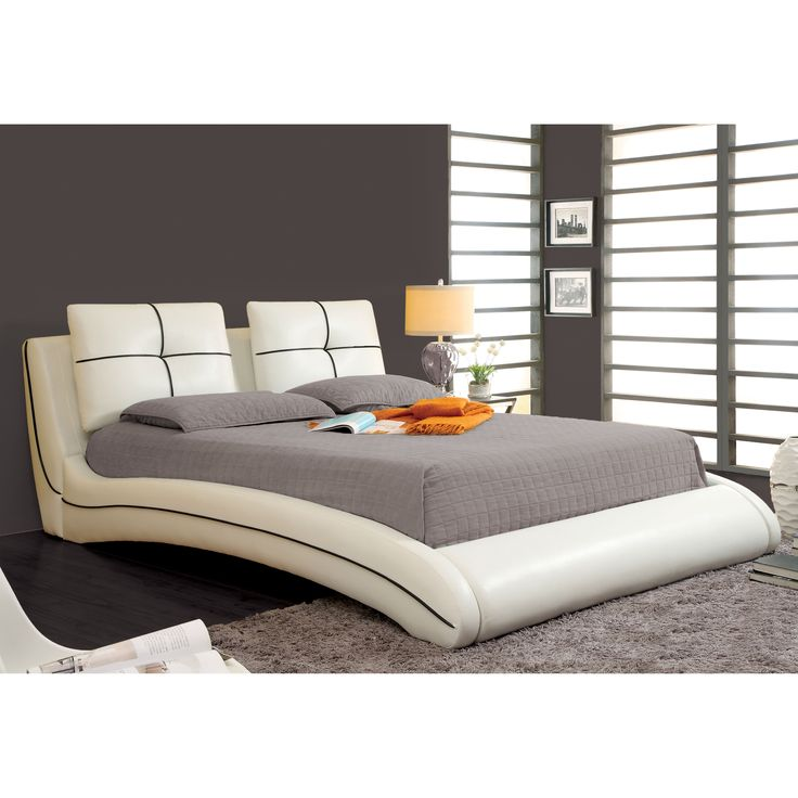 Furniture Of America Corella Contemporary White Leatherette Platform Bed  With Zipper Pillows   Overstock™ Shopping