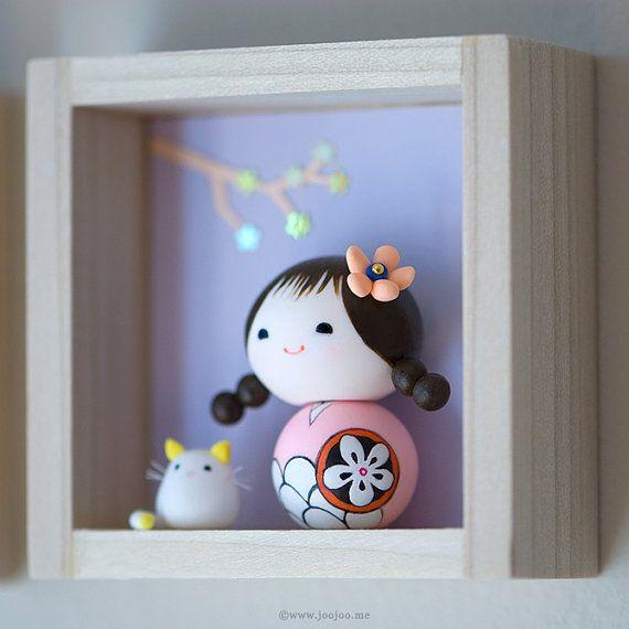 OOAK doll Polymer clay miniature doll Kokeshi by JooJooTreasures