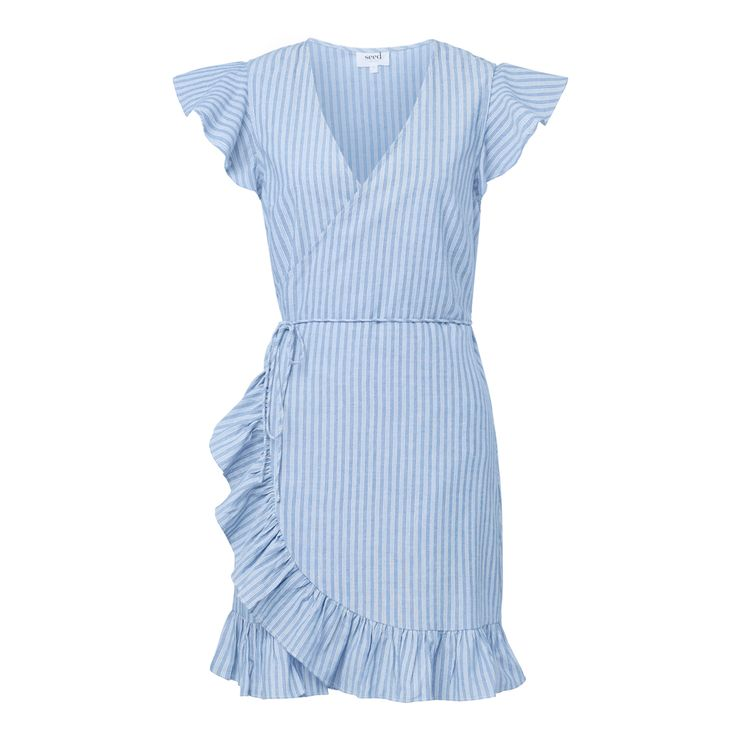 Cotton Stripe Frill Wrap Dress. Comfortable yet neat fitting silhouette features a wrap front body with tie, short frill sleeves, and relaxed body with frill hem detail. Available in stripe as shown.