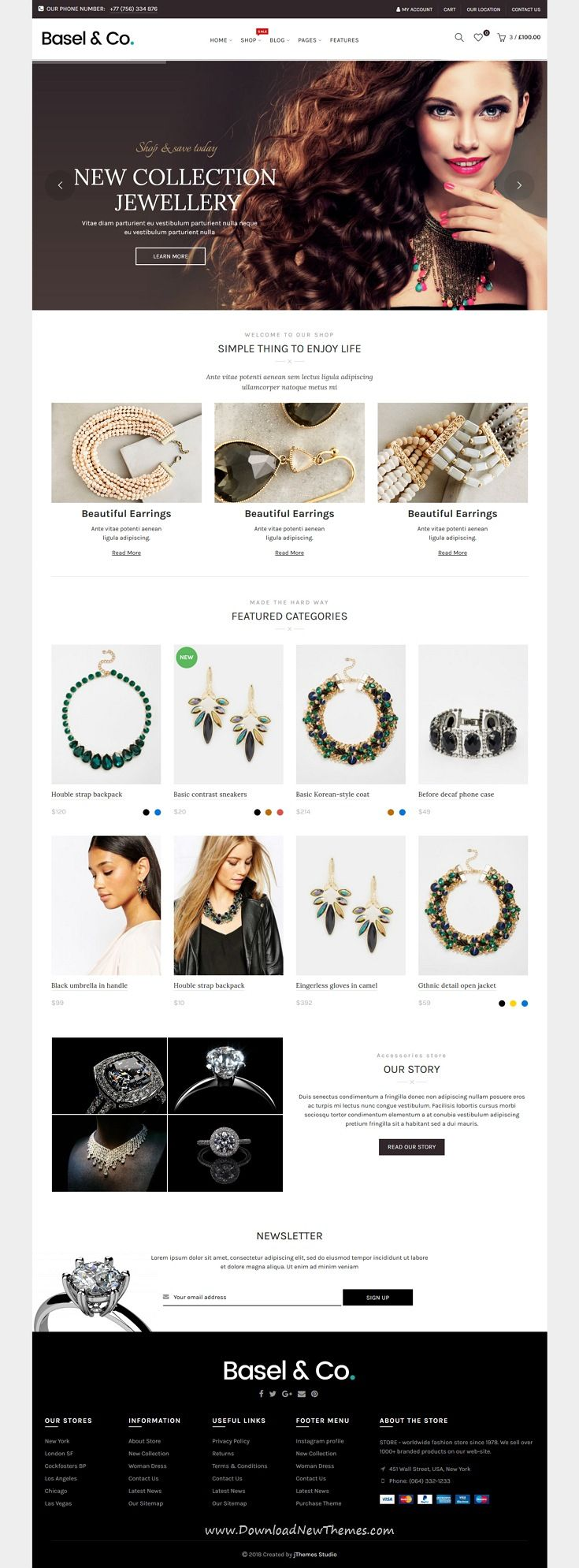 Basel is clean and modern design responsive bootstrap HTML5 #template for stunning #jewellery shop #eCommerce website with 10 niche homepage layouts to live preview & download click on image or Visit