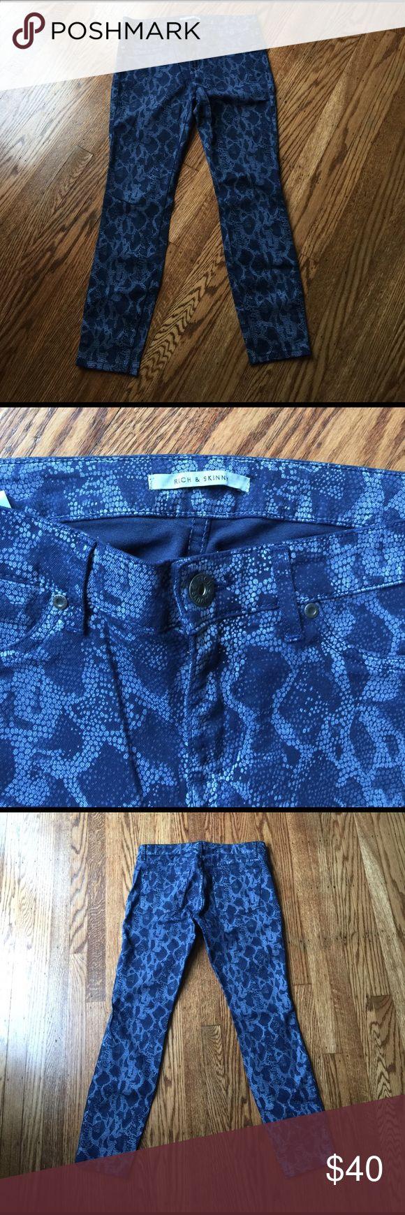 Rich & Skinny Python Print Jeans Stretch denim. 26 1/2 inseam. Size 29 Rich & Skinny Jeans Skinny