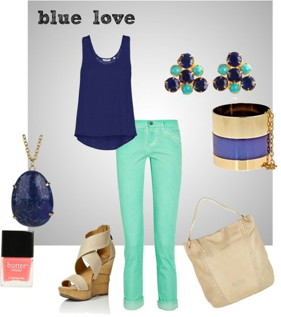 blue tank with mint jeans and nude wedges has me written all over it.