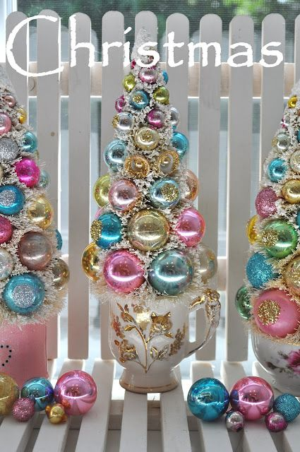 #Christmas trees in tea cups...can use my grandma's. She'd love it!