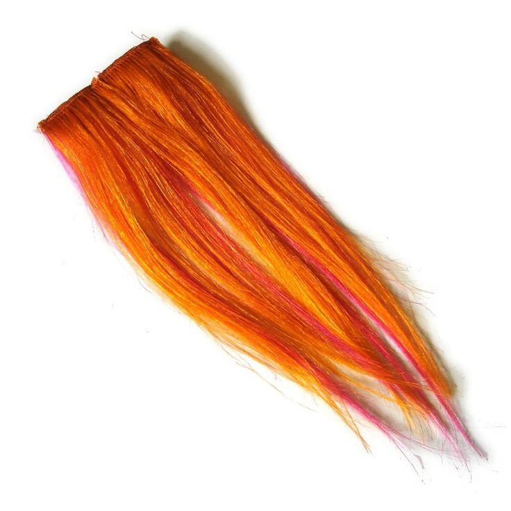 "9"" Clip-In Human Hair Streaks, Grapefruit at I Kick Shins"