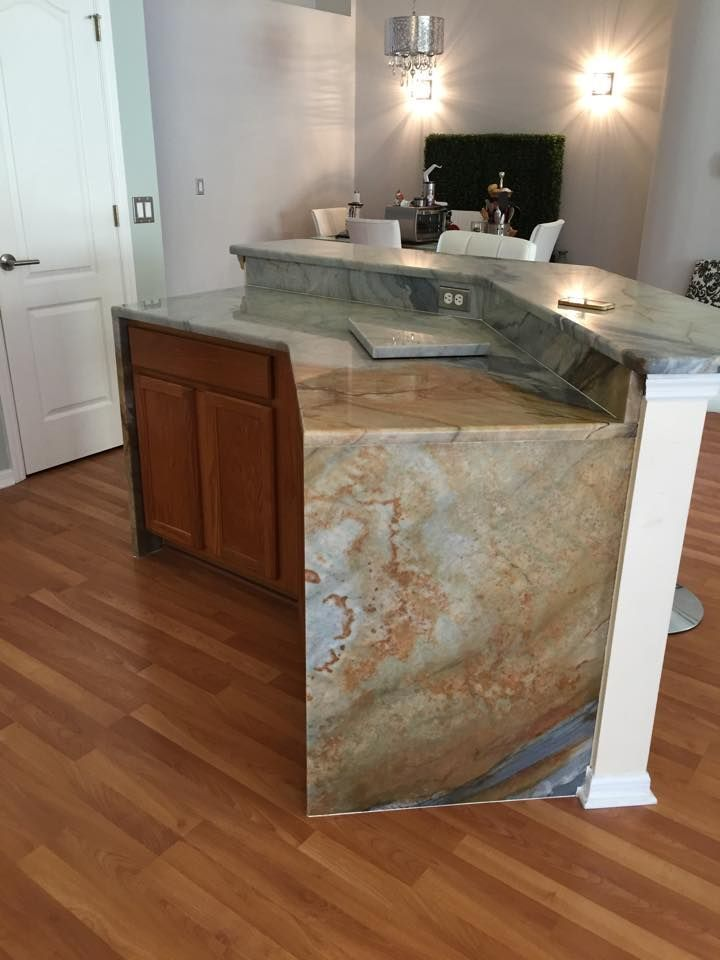 Image result for waterfall countertop with floating bar