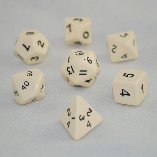 Opaque Ivory Dice Set - RPG board games
