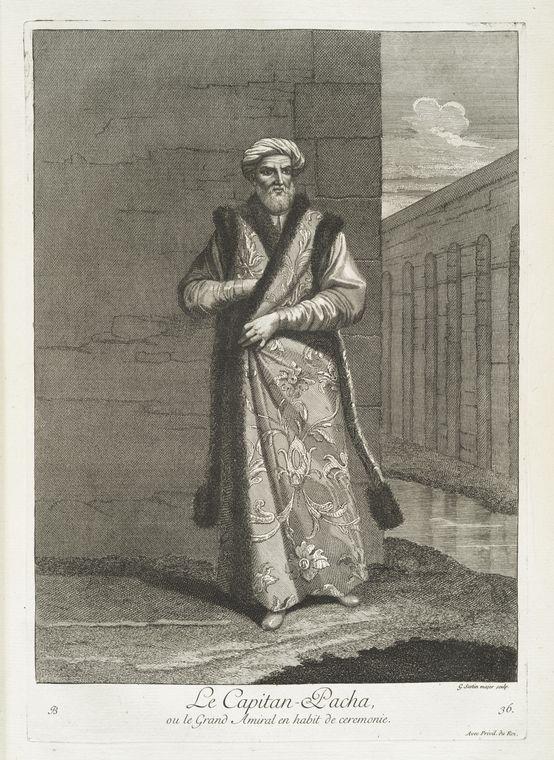 van mour-Le capitan-pacha, ou le grand amiral en habit de ceremonie (1714)Jean-Baptiste van Mour'un (1671 – 1737) altında basılan Osmanlı gravürleri. Captain pasha in a ceremony, the grand admiral.
