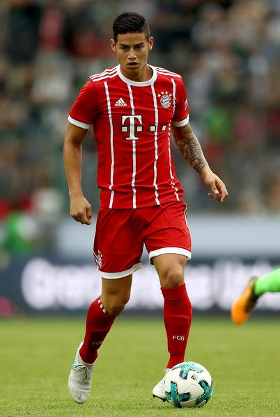 James Rodriguez of Muenchen runs with the ball during the Telekom Cup 2017 Final between SV Werder Bremen and FC Bayern Muenchen at Borussia Park on July 15, 2017 in Moenchengladbach, Germany.