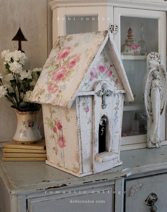 Shabby Chic Vintage Style Large Birdhouse, Prairie Rose Chapel with crystals. Available at www.debicoules.com