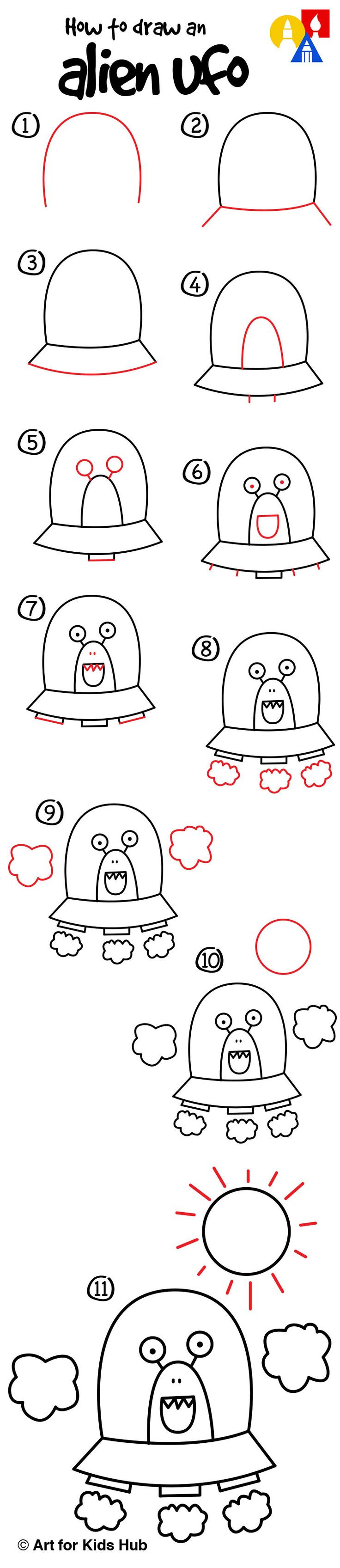 How To Draw An Alien UFO (young artists) - Art For Kids Hub -