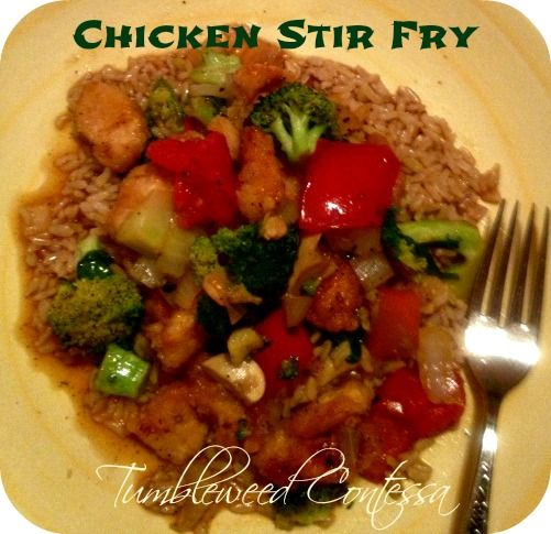A savory one pot Chinese stir fry dinner with chicken, vegetables and brown rice.