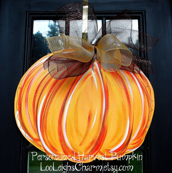 Door Hanger Fall Pumpkin Fall Home Decor Pumpkin by LooLeighsCharm, $42.00
