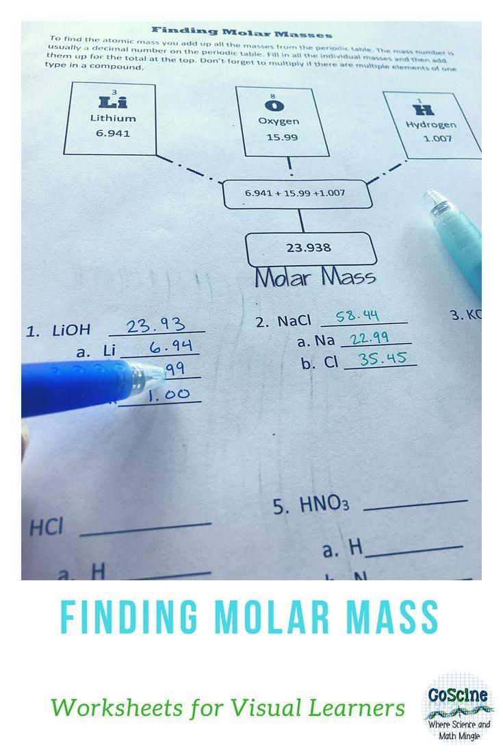 Verwenden Sie Dieses Arbeitsblatt Mit Molmassen Um Den Schulern Zu Helfen Schritt Fur Schritt Zu L Teaching Chemistry Chemistry Classroom Chemistry Education