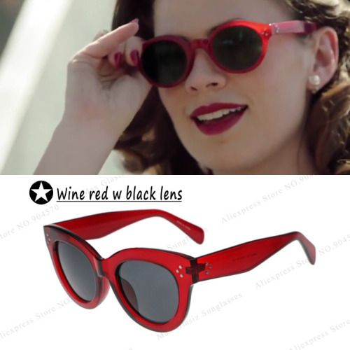 These are the closest pair of Peggy Carter's sunglasses I could find so far. Peggy's are more oval and thinner. I've never bought from the site I found them on. They are a knock-off of a pair of CÉLINE sunglasses. here  I'll update if/when I find a more accurate pair!