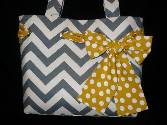 Gray Chevron Tote Bag Purse with Yellow Polka dot Bow, Handmade Shoulder bag, diaper bag