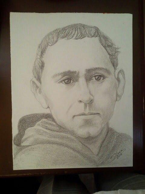 Dibujo  a lápiz de San Ezequiel Moreno (Agustino Recoleto). Patrono de los enfermos de cáncer.