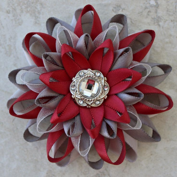 Dress Pin Sherry Red and Silver Flower Pin Sherry Red Corsage Pin Sherry Flower Corsage Pewter and Dark Red Flowers Red Wedding Jewelry