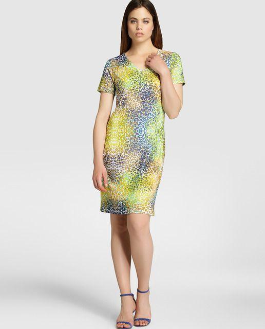Vestido de mujer Antea con estampado de leopardo multicolor
