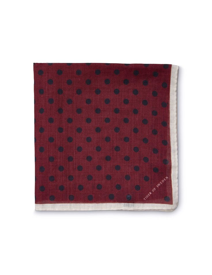 Larioso handkerchief - Men's handkerchief in pure cotton. Features all-over polka dot pattern. Solid border with Tiger of Sweden logo in one corner.