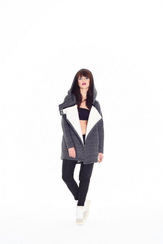 Bluzo-płaszcz ROBIN ciemnoszary z białą nitką