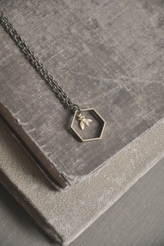 tiny bee necklace by bellehibou