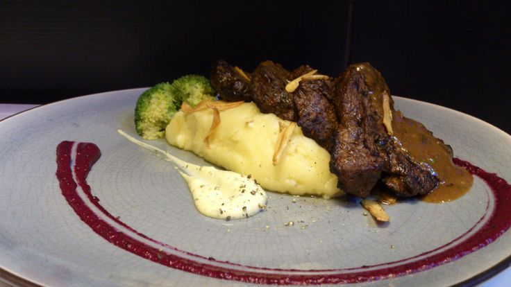 Grilled Tenderloin Mignons, Country style Mash Potatoes, Roasted Beet Puree and BBQ Sauce