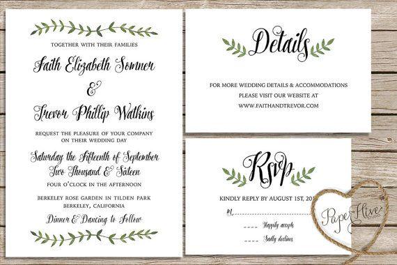 Botanical Wedding invitation set / calligraphy wedding invite / watercolor wedding invitation set / printable file or printed cards