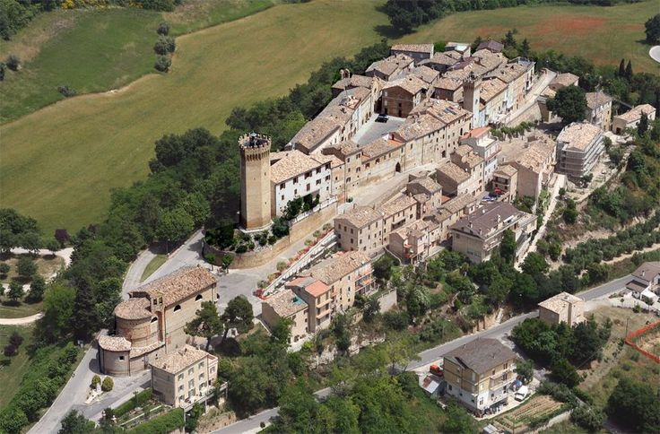Moresco, province of Fermo, has an heptagonal tower of 12th century. From the top of the tower on a clear day our gaze wanders from Mount Conero to the Gran Sasso mountain and onwards over to the coast of Albania. Le Marche, Italy.