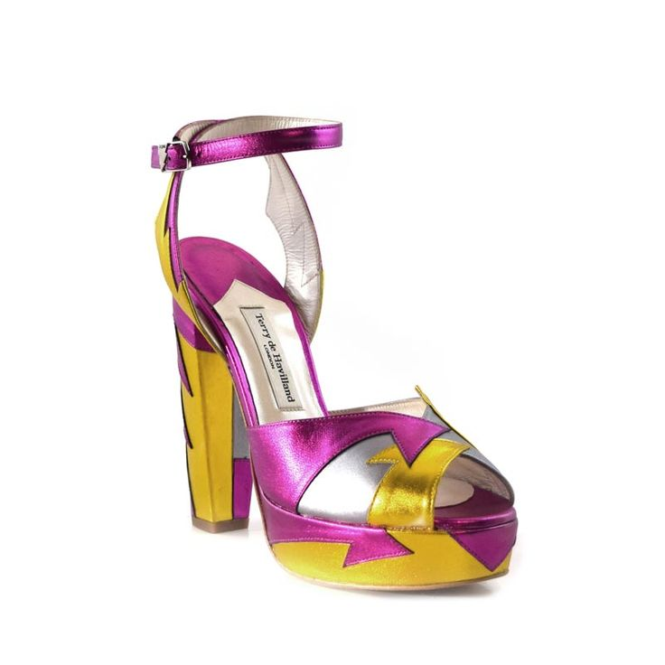 Wear your heels high with Terry de Havilland Zia Pink/Yellow. These luxury block heels in metallic leather are shoes to be noticed! With FREE UK shipping.