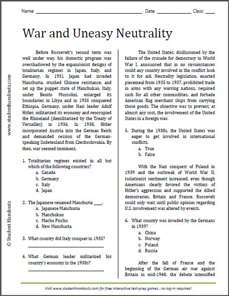 War And Uneasy Neutrality Reading Worksheet Free To