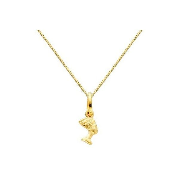 14K Yellow Gold Small Queen Nefertiti Charm Pendant with Yellow Gold