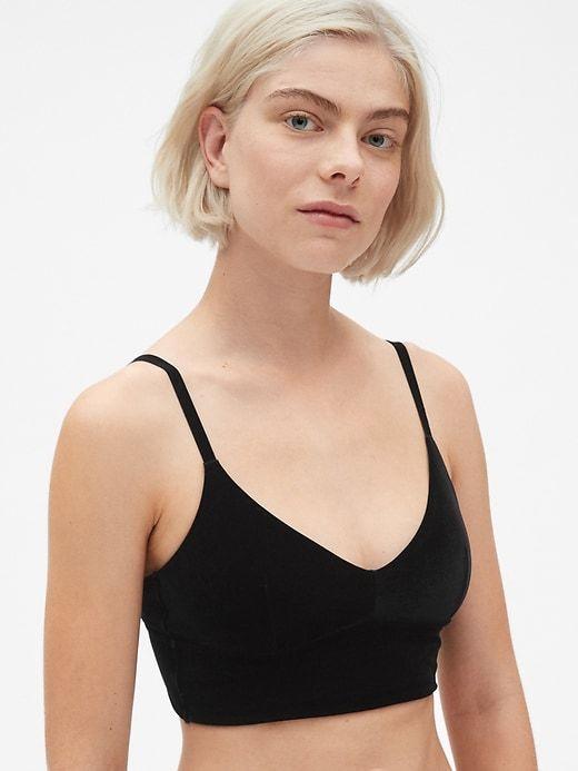 524f235dacd Gap Womens Velvet Longline Bralette True Black