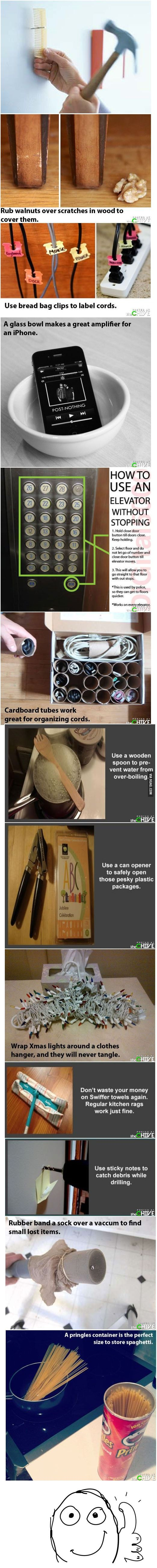 Organization tips. Love the bread clips to label cords!
