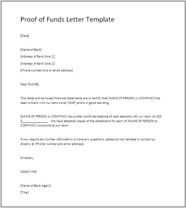 Access To Funds Letter Inspirational Proof Of Funds Pof Definition