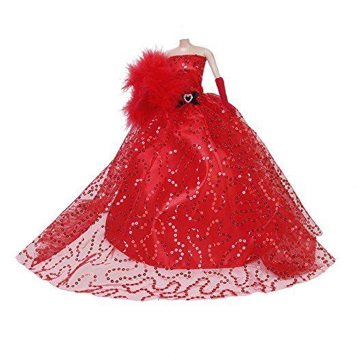 Paillettes Rosso Abito Senza Spalline Abito con Guanti Scialle Per Bambola Barbie Sposa Da Sposa Partito Favore