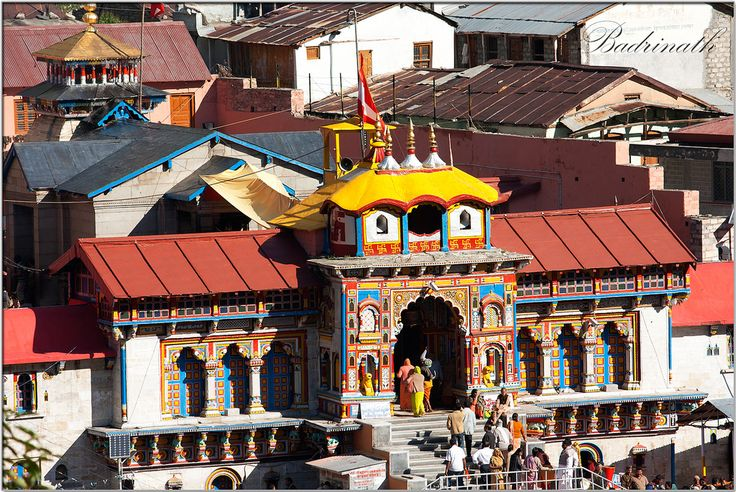 Badrinath Temple, Uttarakhand  Badrinath Temple is widely considered to be one of the holiest Hindu temples, and is dedicated to god Vishnu. The temple and town are one of the four Char Dham and Chota Char Dham pilgrimage sites. It is also one of the 108 Divya Desams, holy shrines for Vaishnavites. The temple is open only six months every year (between the end of April and the beginning of November), due to extreme weather conditions in the Himalayan region.