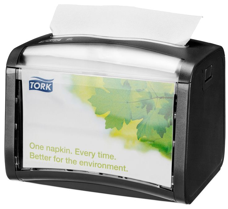 Tork Xpressnap Black Tabletop Napkin Dispenser: We guarantee Tork Xpressnap® napkin dispensing system will reduce napkin usage by at least 25% compared with traditional dispensers, helping you to reduce napkin consumption and waste. (System: N4 - Interfolded napkin system; Material: Plastic; Height: 155 mm, Width: 201 mm, Depth: 150 mm; Color: Black) Get more information about this product at: http://bimobject.com/en/sca-eu/product/272611/sca-tork-eu