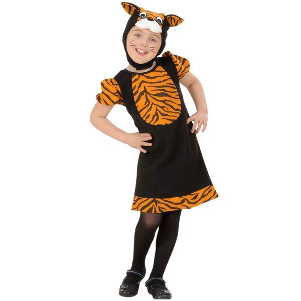 Tijger jurkje voor kleuters. Tijger kostuum voor kleine meisjes dat bestaat uit het jurkje en het mutsje dat onder de kin is vast te zetten. Carnavalskleding 2015 #carnaval