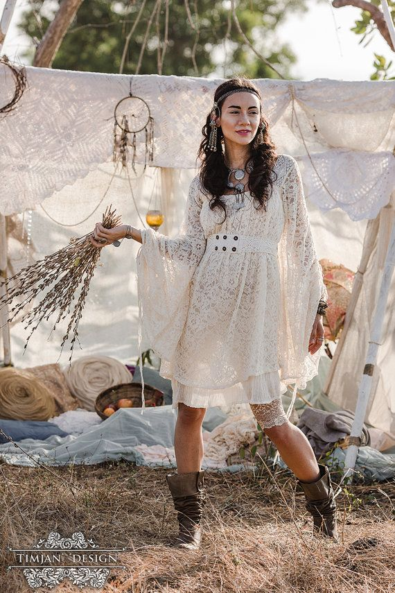 EMPRESS BOHEMIAN DRESS – Lace Hippie Boho Wedding Bride Romantic Lagenlook Mori Shabby chic Plus size Gypsy Ethnic – Off white Cream